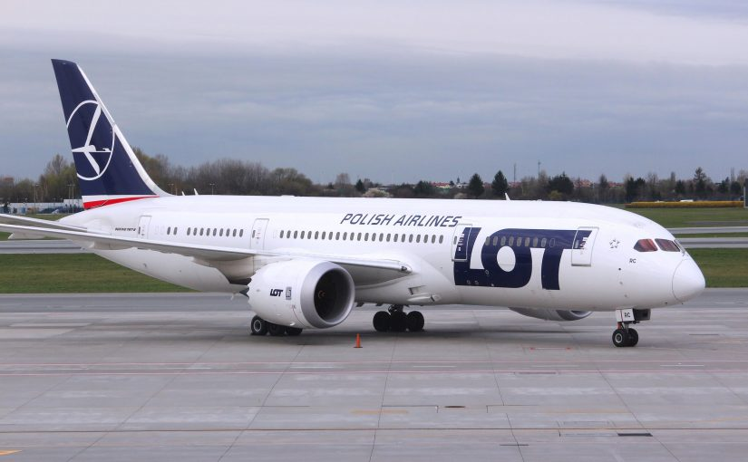 Boeing 787 Dreamliner aircraft of LOT Polish Airlines at Warsaw Airport